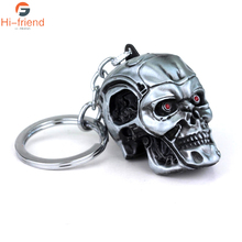 2017 Movie Terminator Keychain Cool Punk 3D Skull Head Shape Keyring Alloy Metal Terror Key Rings Holder