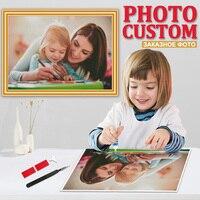 Pintura de diamante 5D DIY con foto personalizada, cuadro de mosaico bordado de diamantes de imitación, decoración de regalo