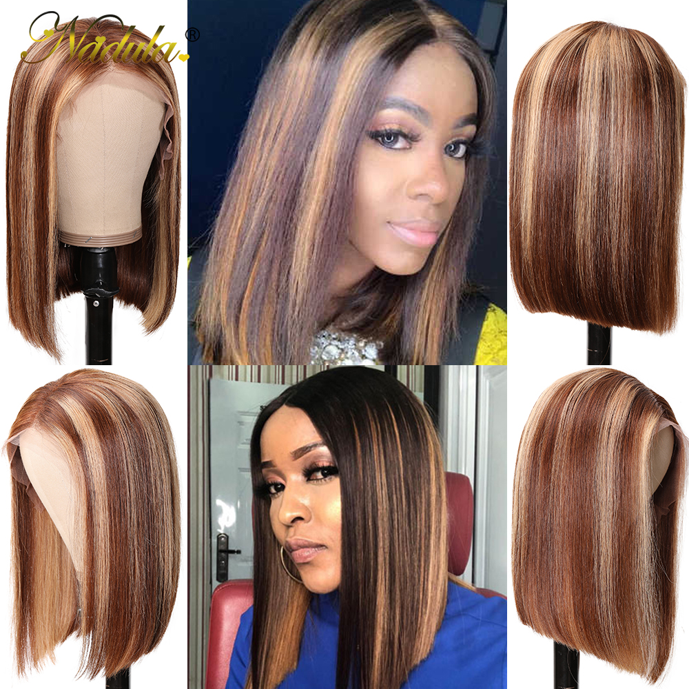 Nadula Wig 13x4 Lace Front  Wigs Short Bob Wig Straight Highlight Wig Pre Plucked Hairline Bleached Knots  Hair 3