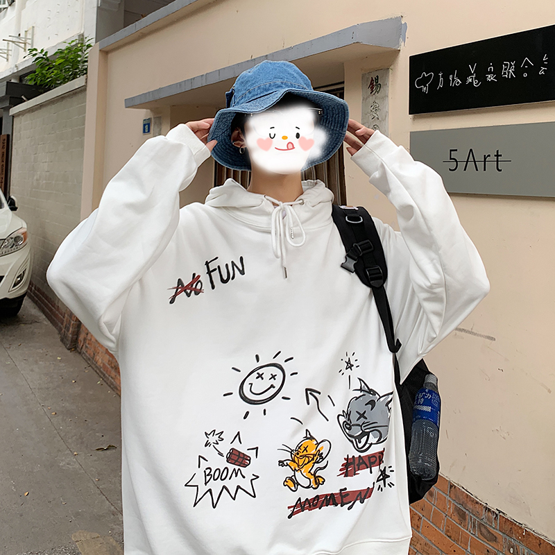 2020 Spring And Autumn New Youth Popular Cartoon Printed Hooded Sweatshirt Fashion Casual Loose Pullover Gray / White / Black