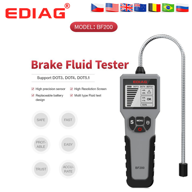 2021 EDIAG BF200 araba fren hidroliği test cihazı fren hidroliği dijital test cihazı lastik basıncı izleme masa BF200/BF100