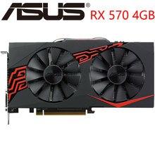 Asus placa de vídeo rx 570 4gb 256bit gddr5, placas gráficas para amd rx 500 séries placas vga rx570 displayport dvi hdmi usado