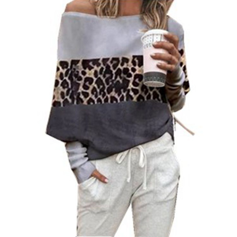 Leopard Print Long Sleeve Round Neck Harajuku Women Shirts Streetwear Tee Shirt Femme Korean S-5XL Plus Womens Clothing SJ4543V