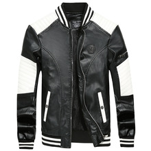 Autumn and winter PU leather men's jacket jacket black and w