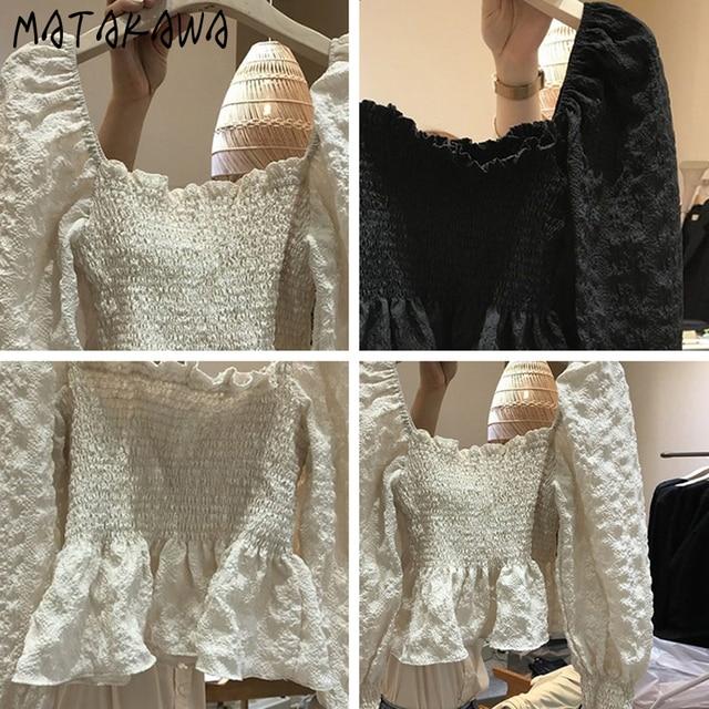 MATAKAWA Elastic Slim Backless Bottoming Shirt Korea Square Neck Puff Sleeves Blusas Mujer De Moda Pleated Blouse Women 4