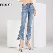 FERZIGE – jean taille haute pour femme, pantalon évasé, extensible, brodé, effiloché des genoux, ce jean ressemblerait à un jean moulant