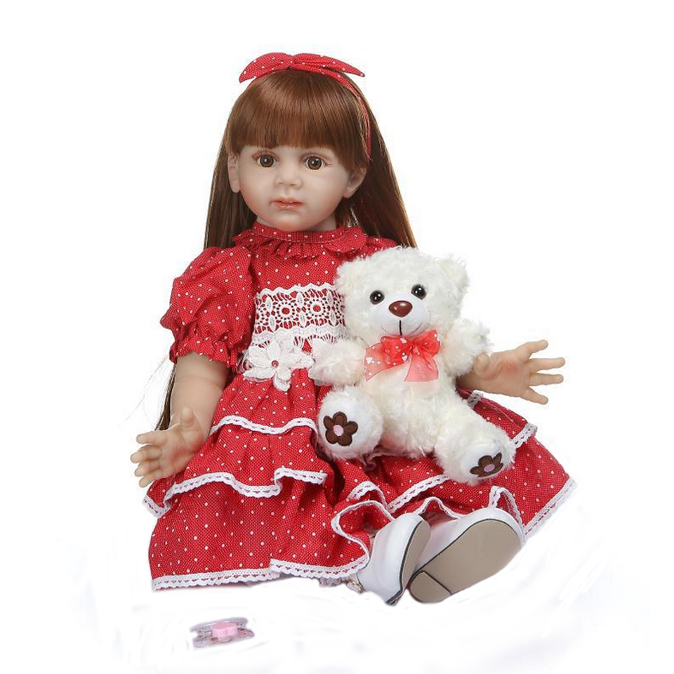 24 Inch Elegant <font><b>Reborn</b></font> Baby Girl <font><b>Doll</b></font> <font><b>60</b></font> <font><b>cm</b></font> Soft Vinyl Cloth Body Princess <font><b>Doll</b></font> Lifelike Boneca <font><b>Reborn</b></font> Kids Gift image
