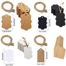 100 pces 5*3cm etiqueta de embalagem marrom kraft/preto/papel branco tags diy vieira etiqueta de decoração de presente de casamento tag