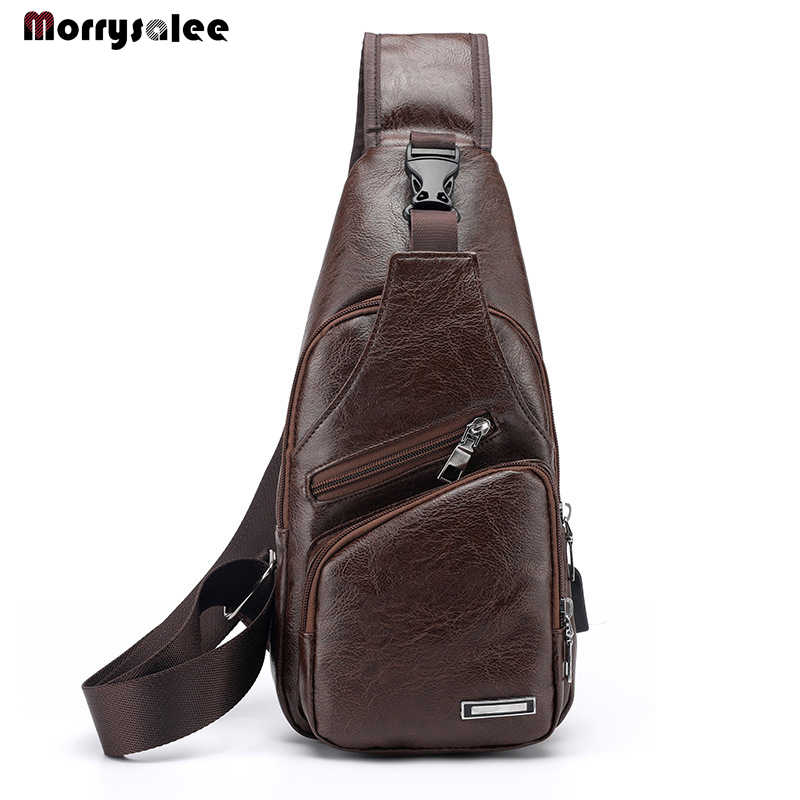 Mens Chest Bags Shoulder Messenger Bags PU Leather Casual Zipper Male Bag  High Quality Classic Travel Crossbody Bag