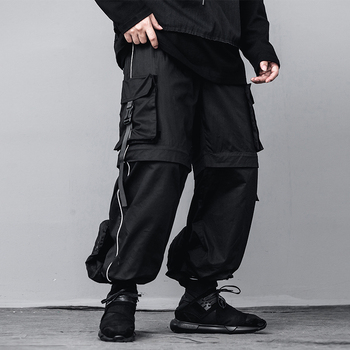 Male Streetwear Loose Cargo Pant Joggers Sweatpants Men Removable Pocket Trouser Legs Velcro High Street Hip Hop Casual Pant