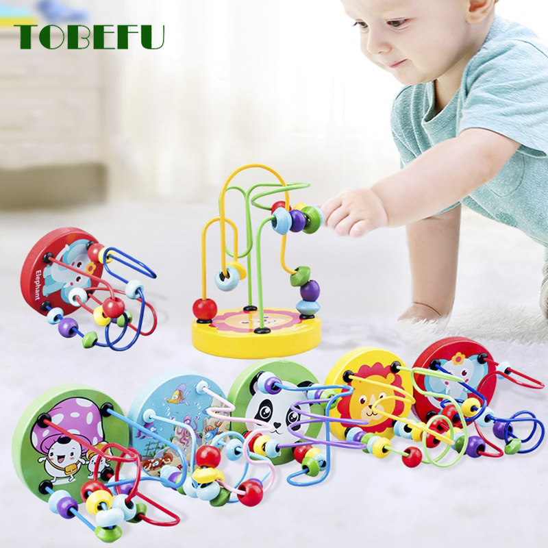 Wooden Toys Montessori Wooden Circles Bead Wire Maze Roller Coaster Educational Wood Puzzles Toys For Kids Boys Girls