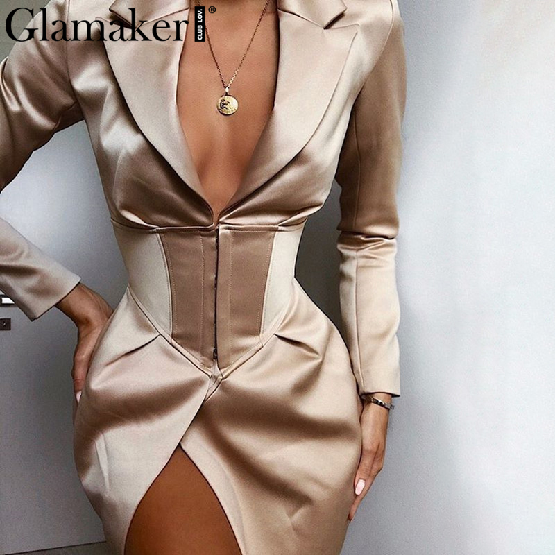 Glamaker V Neck Khaki Sexy Blazer Dress Women Autumn Winter Bodycon Elegant Thin Coat Outwear  Female Party Club Night Blazer