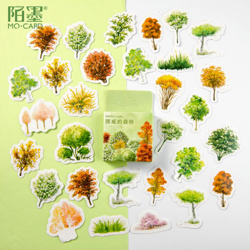 45Pcs/Pack Norwegian Forest Pattern Stickers Decoracion Boxed Scrapbooking DIY Office Stationery School Supplies