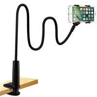 Soporte de teléfono Universal para cama y escritorio, Clip Flexible de cuello de cisne, abrazadera de brazos largos para iPhone 8/7/6