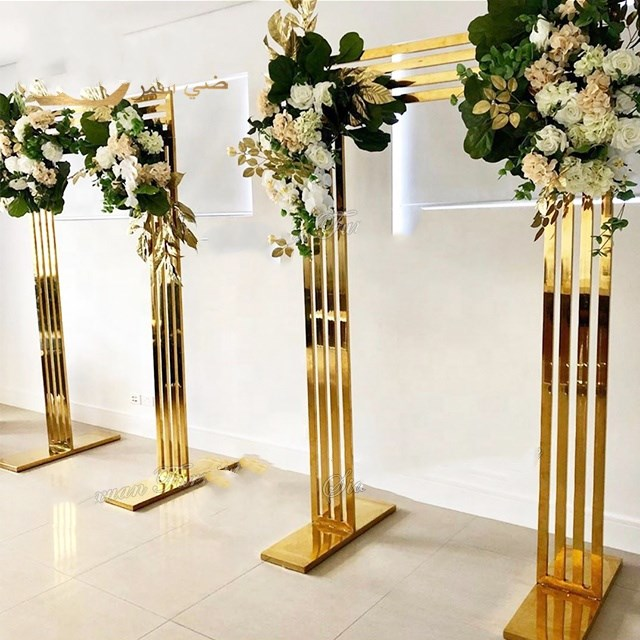 Gold Plated shining gold cylindrical base wedding backdrop gold frame metal arch  corridor  walk away flower stand metal arch