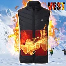 цена 2019 Men Outdoor USB Infrared Heating Vest Jacket Winter Flexible Electric Thermal Clothing Waistcoat For Sports Hiking Fishing онлайн в 2017 году