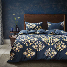 Parure de lit bleu foncé doré, motif Floral, bronze, décor de lit, housse de couette, taies doreillers, 2/3 pièces