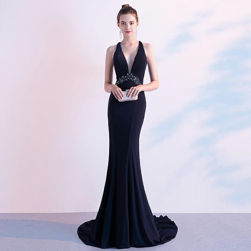 New Navy Blue Evening Dresses Mermaid Deep V-neck Floor-length Satin Beading Wedding Formal Prom Party Celebrity Gowns Elegant