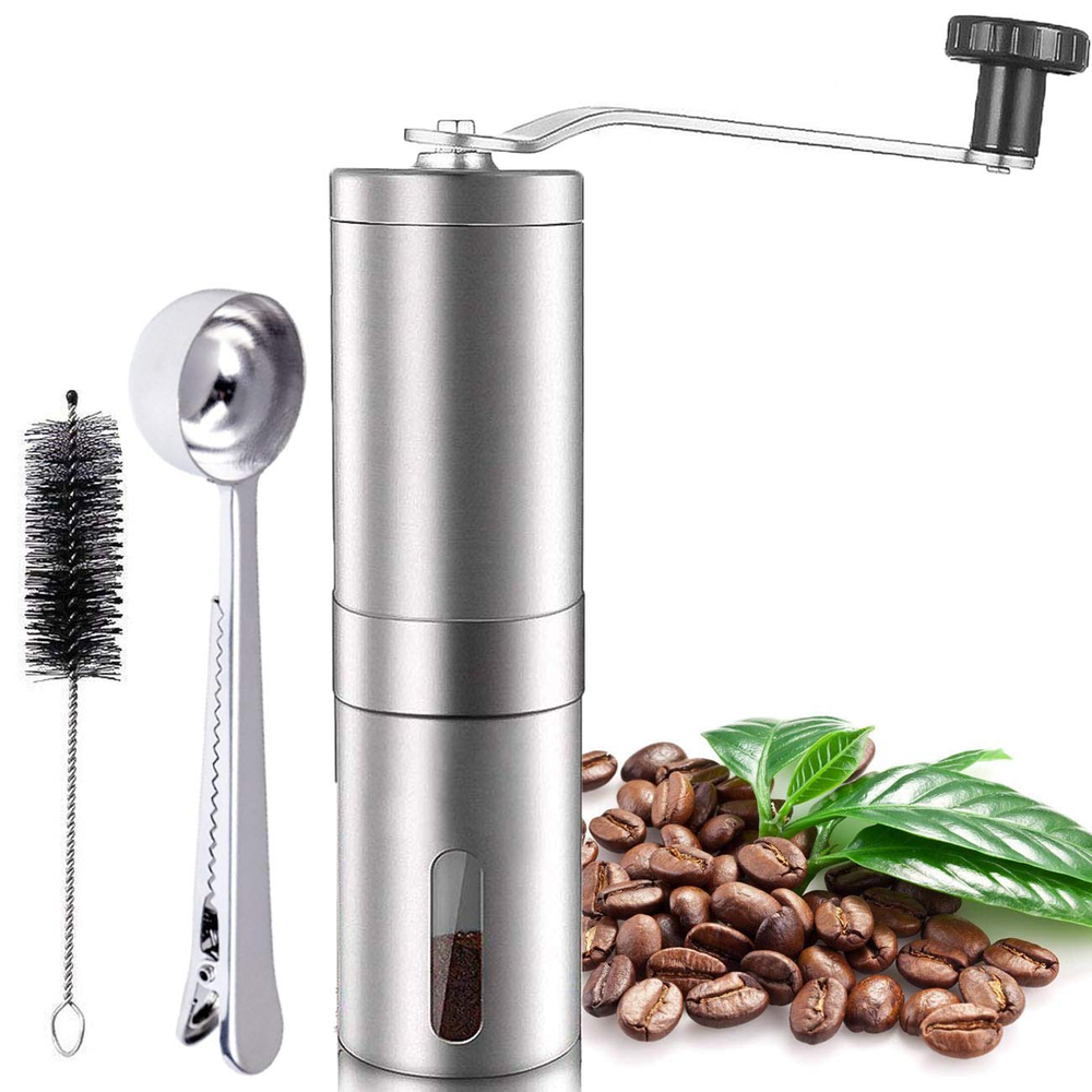 Manual Coffee Grinder, Ceramic Conical Burr Brushed Stainless Steel Portable Coffee Beans Hand Grinder Handheld Mill