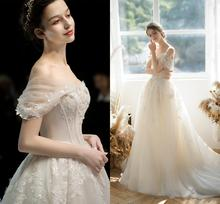 Vintage A-line Champagne Wedding Dress Off the Shoulder Applique Lace Gowns Robe De Mariage Bride Dresses New Designer