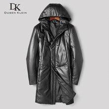 Dusen Klein Men Genuine Leather Down Jackets Hooded Winter Coat Outerwear Sheepskin 275