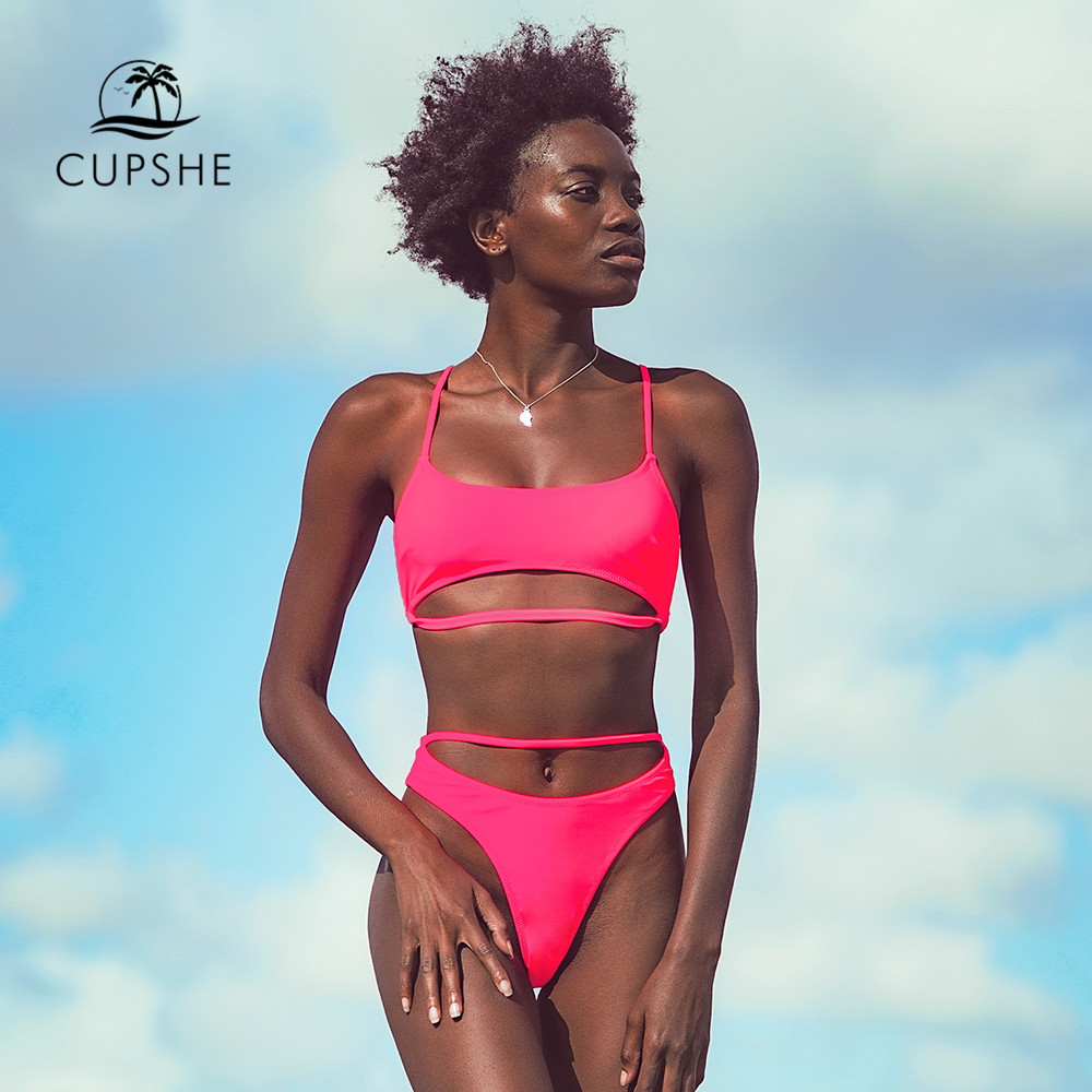CUPSHE Solid Pink Stylish Strappy Thong Bikini Sets Sexy V-neck Swimsuit Two Pieces Swimwear Women 2020 Beach Bathing Suits