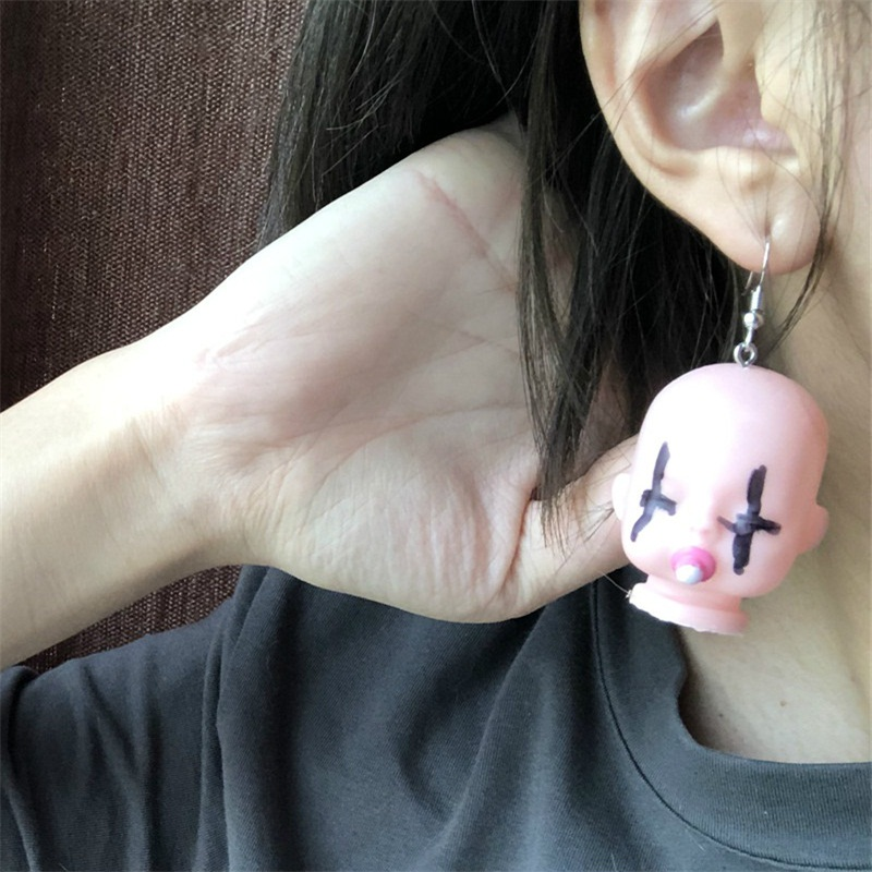 2020 New Face Earrings Creative Hand Made Funny Cute Doll Head Earrings Trendy Exaggerated Hip Hop Earring Fashion Ear Wholesale