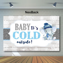 NeoBack White Wooden Wall Baby Shower Backdrop Cute Blue Elephant Photography Backdrops Its Cool Outside Photo Background