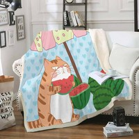 Sherpa Coral Blankets for Kids Adults Cute Garfield Eat Watermelon Throw Blanket Winter Bed Cover Office Knee Blanket Blue Heart