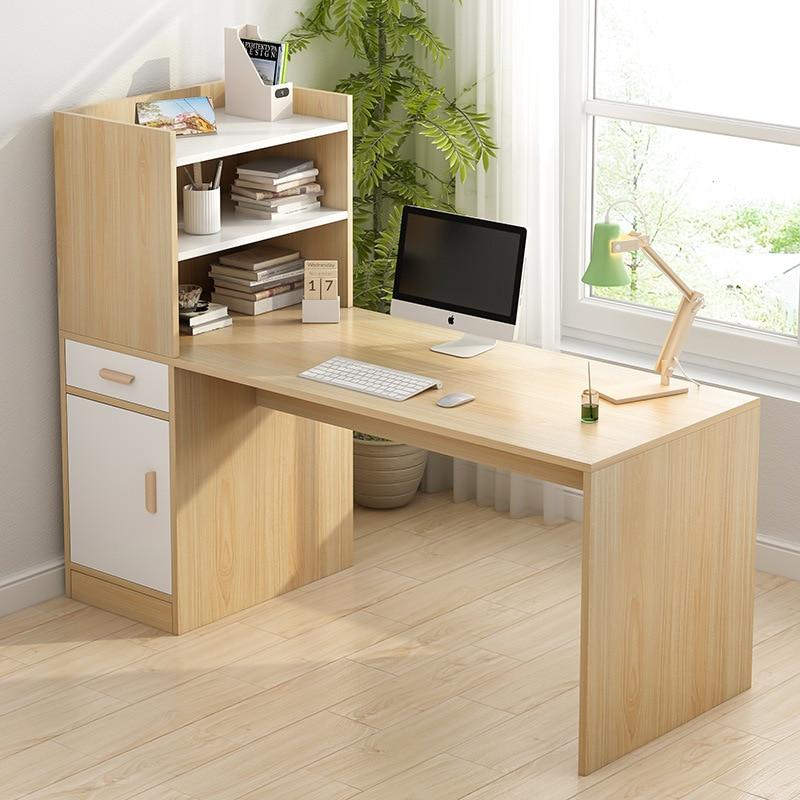 Minimalist Modern Desk Bookshelf Combination Computer Desktop Table Bedroom Table Household Bookcase One-piece Students Writing