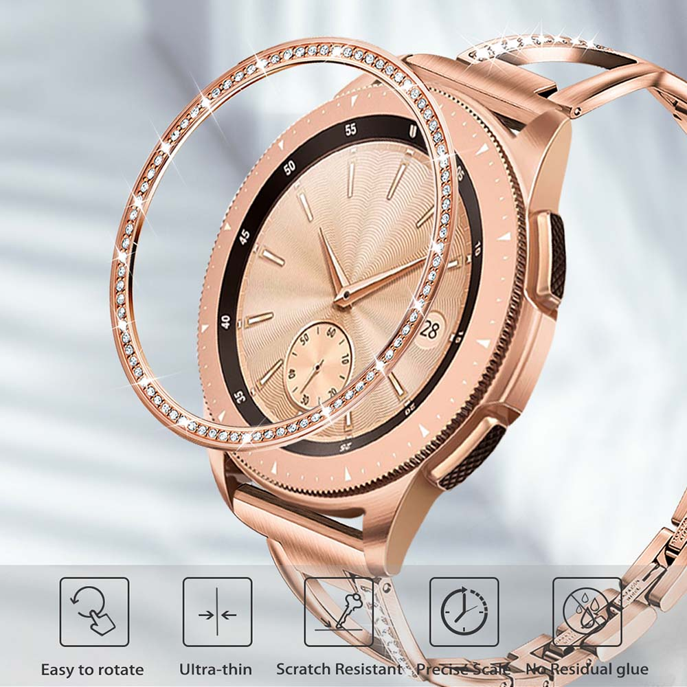 Stainless Steel & Diamond Bezel Ring For Samsung Galaxy Watch 42mm Women Rose Gold Metal Adhesive Case Anti Scratch Frame Cover