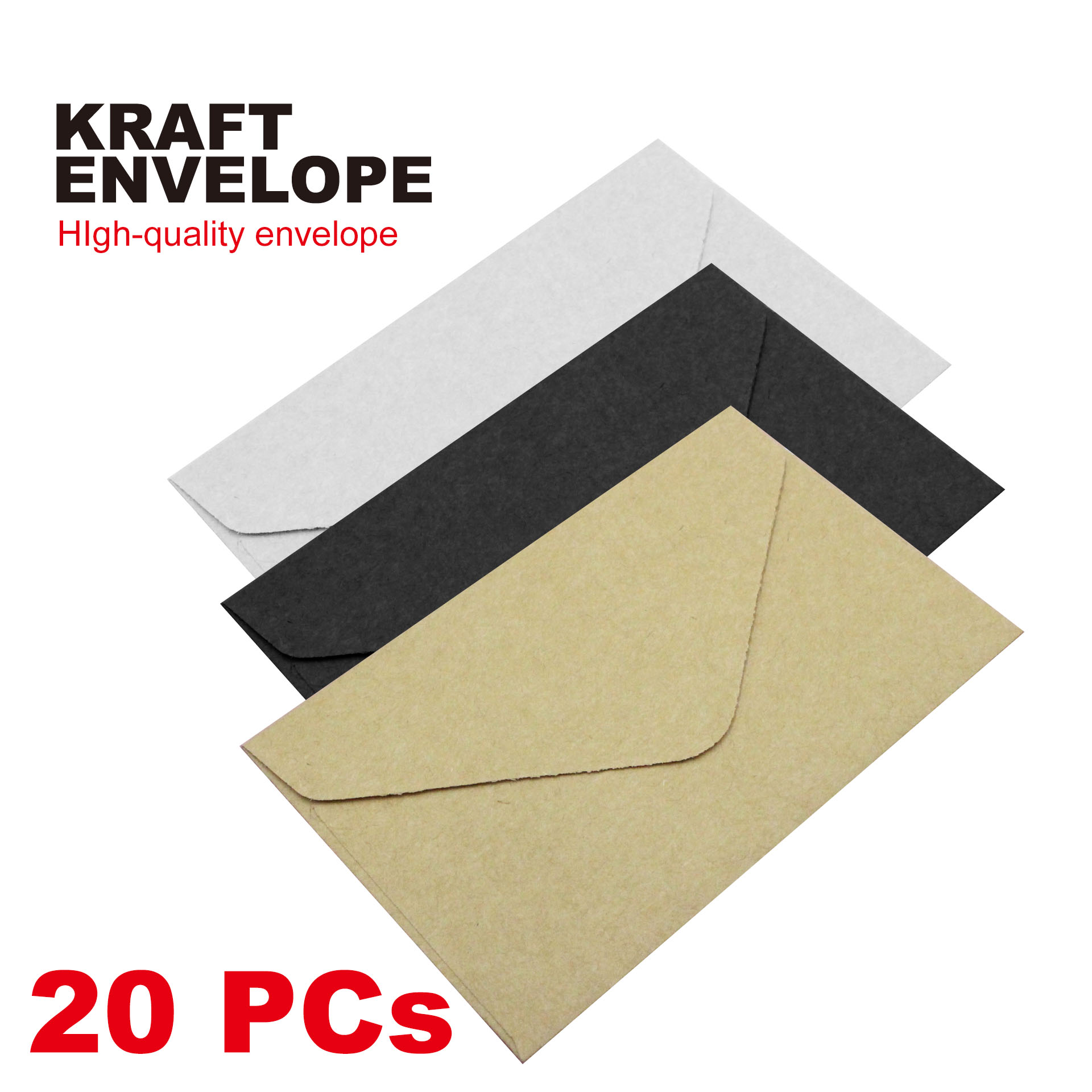 20PC Classical White Black Kraft Blank Mini Paper Window Envelopes Wedding Invitation Envelope Gift Envelope