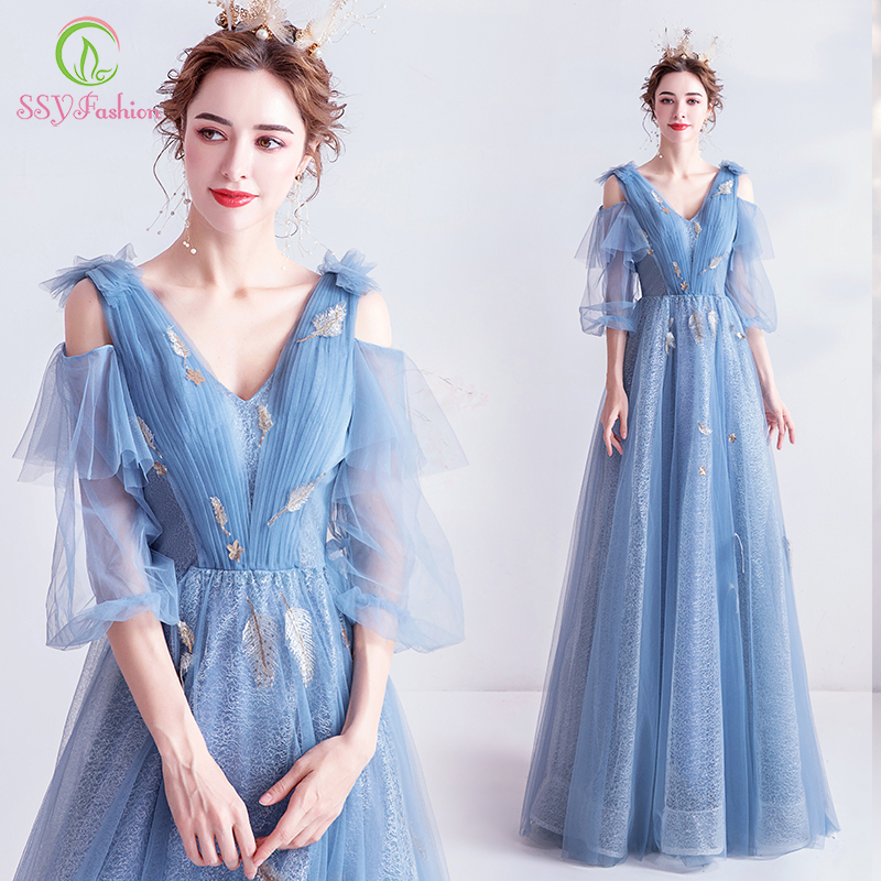SSYFashion New Romantic Princess Blue Evening Dress V-neck 3/4 Sleeve Floor-length Lace Feathers Long Party Prom Gowns Vestidos