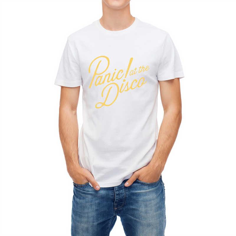 Engraçado masculino camiseta pânico no disco carta impressão t camisa de algodão manga curta casual masculino camiseta moda legal streetwear