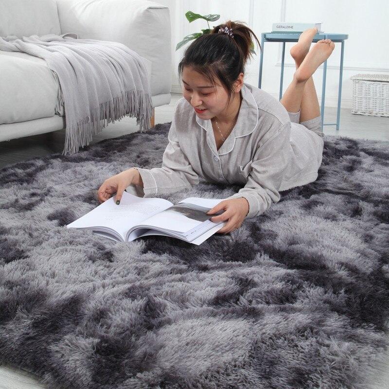 Tapis dégradé de teinture marbré salon Table basse tapis de sol épais dégradé couverture de peau douce cryptage tapis épais - 5