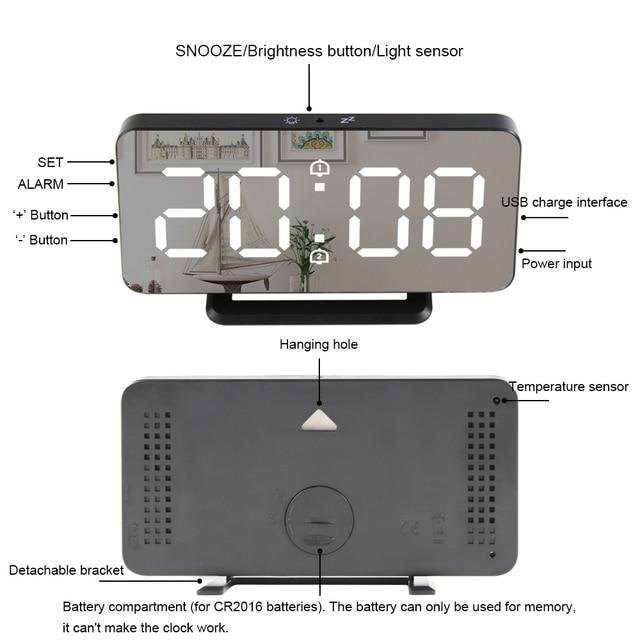 Digital Mirror Alarm Clock LED Wall Table Electronic Temperature Clocks Multifunction Watch Home Decoration Clock 5