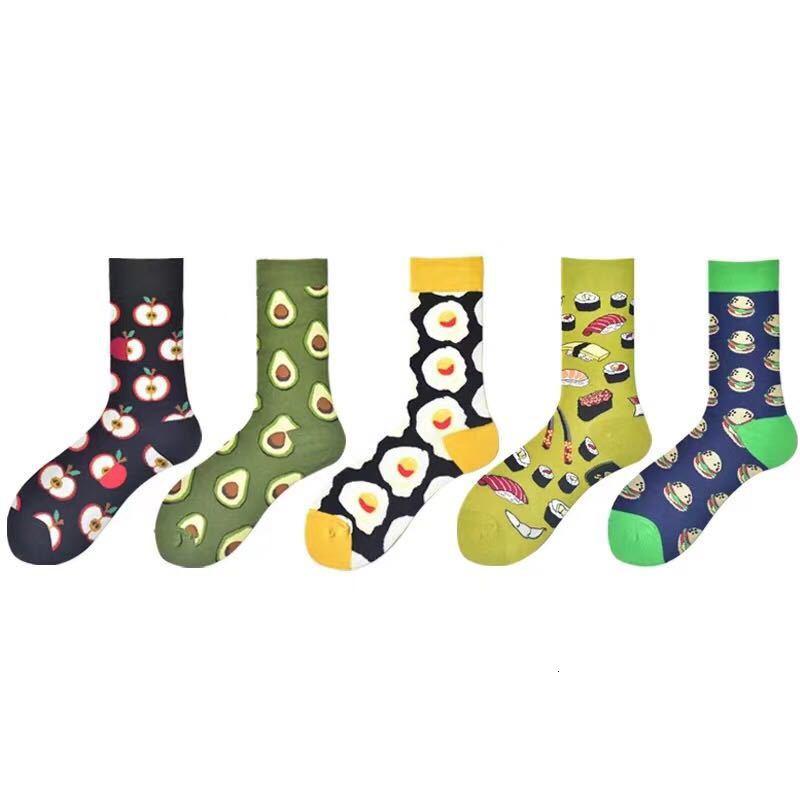 Ins Korean Men Avocado Patterned Happy Socks Unisex Fashion Casual Breathable Socks Trendy Streetwear Skateboarding Socks Novel