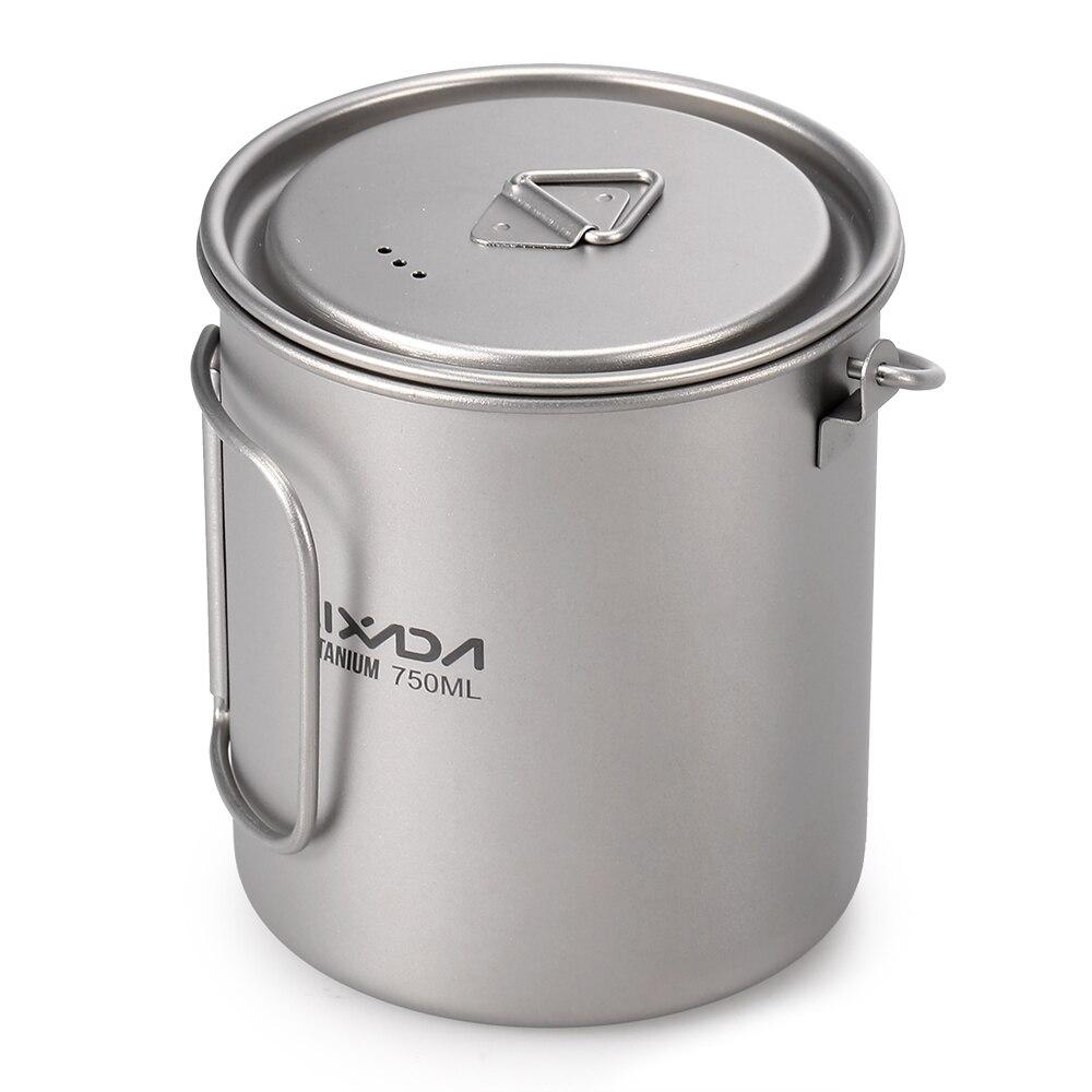 1/3psc Titanium 750ml Pot Lightweight Titanium 750ml Pot 420ml Water Cup Mug with Lid Collapsible Handle Folding Spork фото