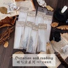 20 unids/bolsa Vintage frase en inglés PET Paquete de Pegatinas transparentes DIY diario Bullet diario pegatina de decoración álbum de recortes