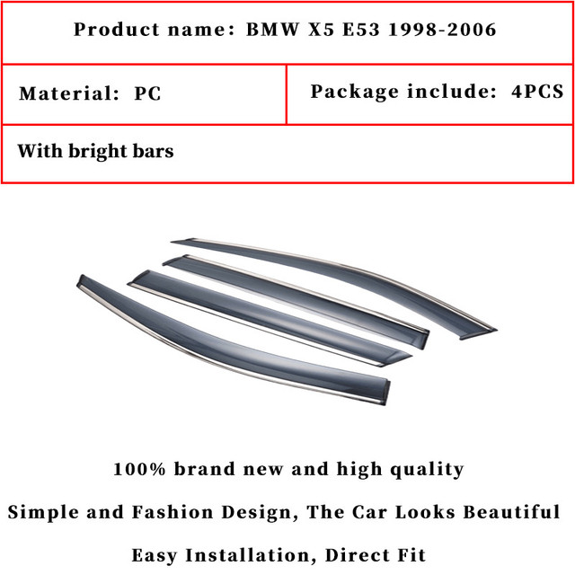 For BMW X5 E53 1998-2006 window visor car rain shield deflectors awning trim cover exterior car-styling accessories parts 2