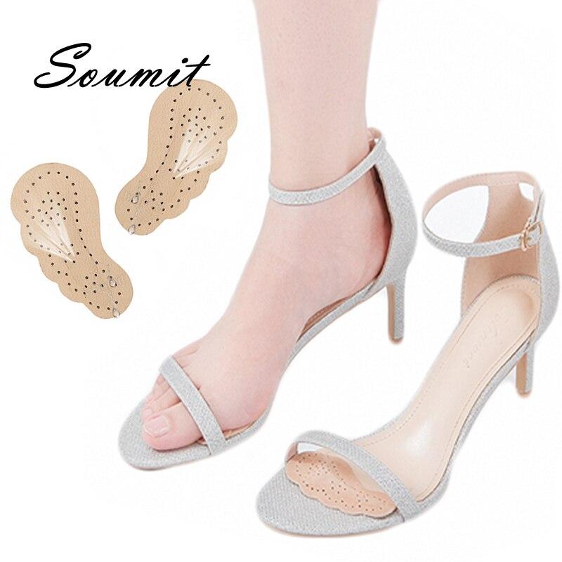 Стельки для обуви женские на высоком каблуке, кожаные босоножки на нескользящей подошве, самоклеящиеся вставки, уход за передней частью сто...