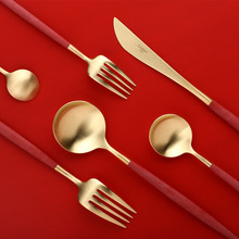 Apple Red Titanium Plated Portuguese Knife Fork Spoon 304 Stainless Steel Cutlery dinnerware set rainbow metal