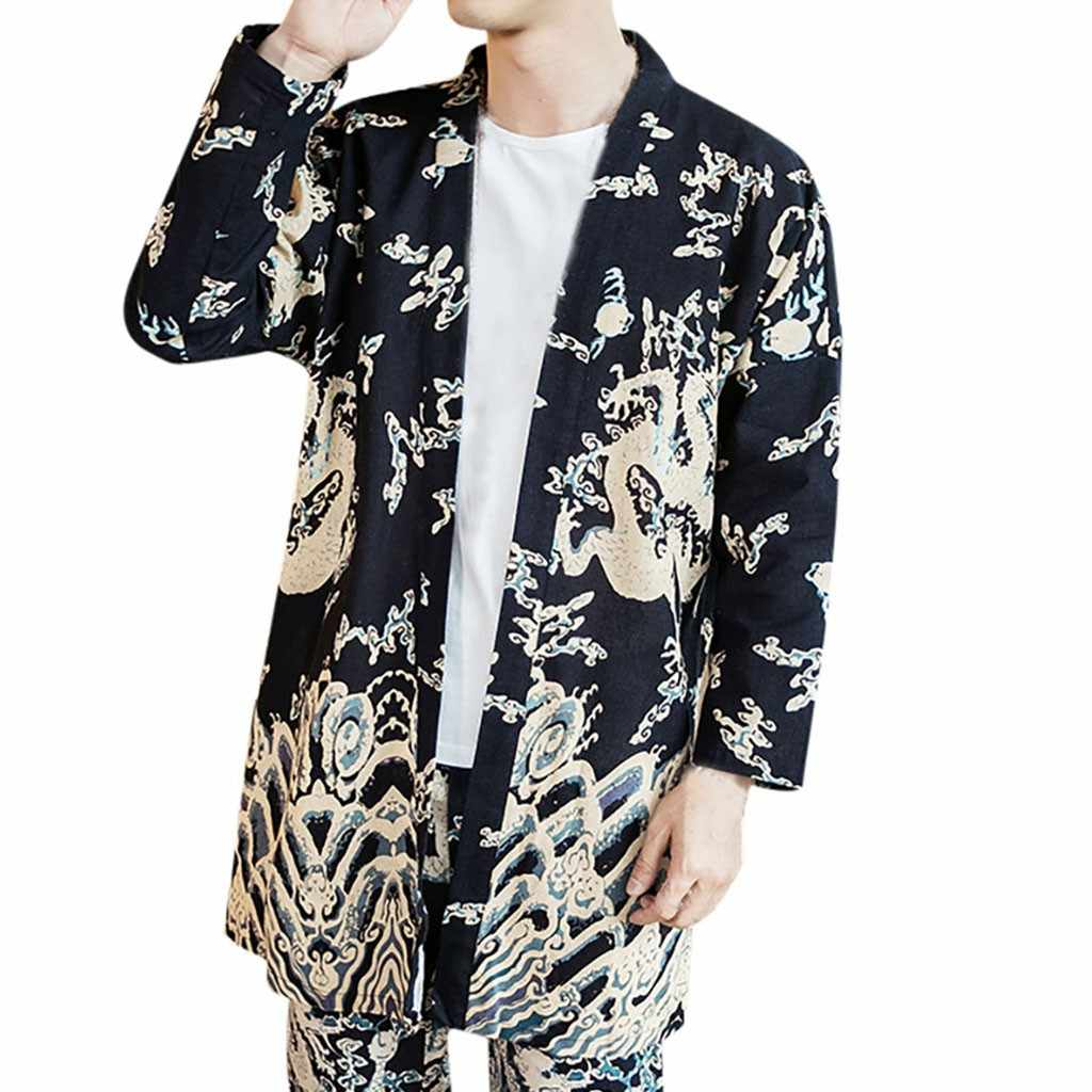 가을과 겨울에 남성을위한 새로운 스타일 대형 인쇄 빈티지 카디건 코트 남성 아웃웨어 남성 스탠드 칼라 얇은 브레스트 코트