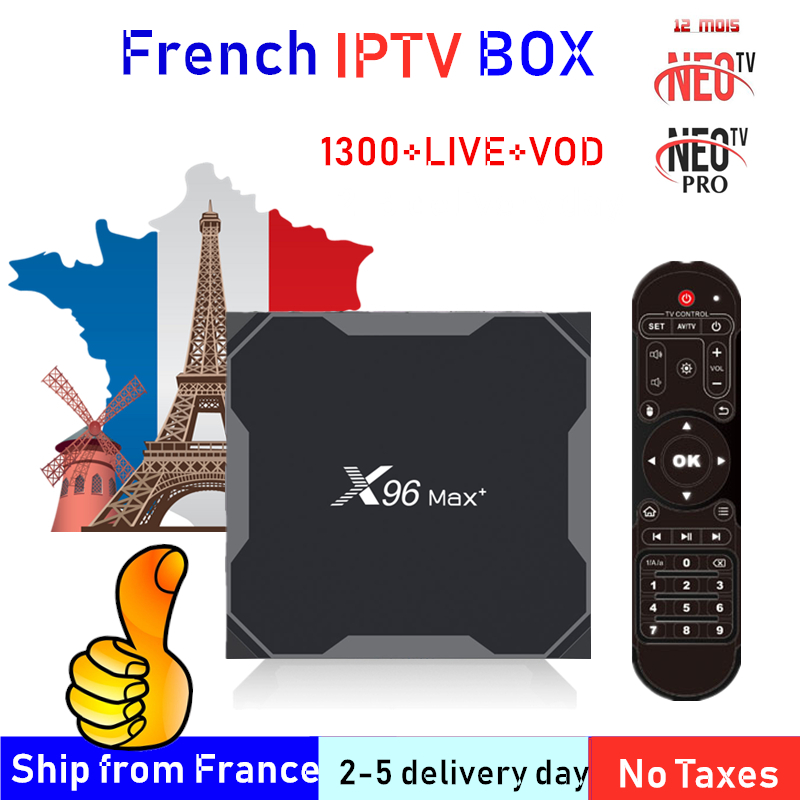 French IPTV BOX X96 MAX PLUS Android TV Box 9.0  S905X3 + 8K IPTV Belgium France Arabic Africa Morocco Football Smart IP Tv Box