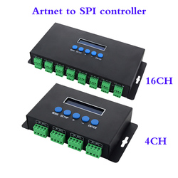 DC5V-24V Artnet Eternet to SPI/DMX pixel led light controller Output 7Ax4CH/3Ax16CH control 2801/2811/2812/APA102/2815 led strip
