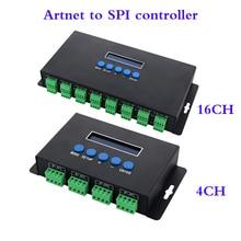 DC5V 24Vアートネットeternet spi/dmxピクセルledライトコントローラ出力 7Ax 4CH/3Ax16CH制御 2801/2811/2812/APA102/2815 ledストリップ