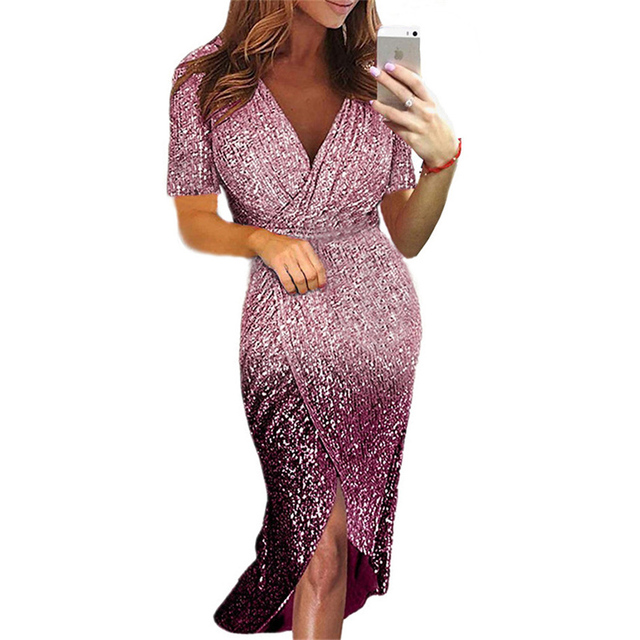 Movokaka Night Dress Women 2021 Long Sexy Sequins Dresses For Women Party Gradient Color Dresses Woman Long Sleeve Women's Dress 6