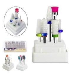 7 pçs cerâmicos prego broca bits conjunto com caixa de fresa acessórios da máquina manicure unhas elétrica arquivos ferramentas da arte do prego