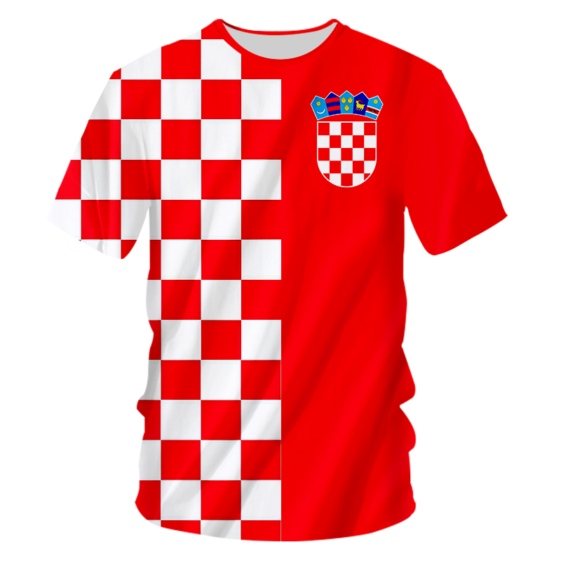 S-5XL Custom T-shirt Men/Women Croatia Football Jerseys Sport Summer Tops Red White Grid 3D Print Futebol Soccer Fitness Tees