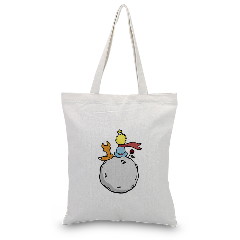 Little Prince Serial Canvas Tote Bag Custom Print Logo Text Daily Use Handbag DIY Eco Ecologicas Reusable Shopping Bag Recycle